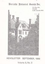 Burnside Historical Society newsletter, September, 1989, cover