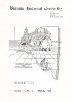 Burnside Historical Society newsletter, March, 1991, cover