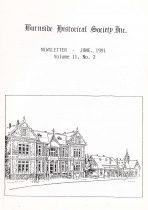Burnside Historical Society newsletter, June, 1991, cover