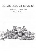 Burnside Historical Society newsletter, March, 1993, cover