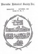 Burnside Historical Society newsletter, September, 1993, cover