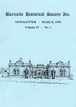 Burnside Historical Society newsletter, March, 1995, cover