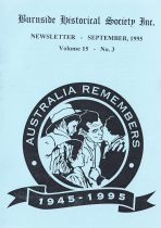 Burnside Historical Society newsletter, September, 1995, cover