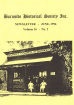 Burnside Historical Society newsletter, June, 1996, cover