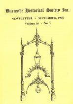 Burnside Historical Society newsletter, September, 1996, cover