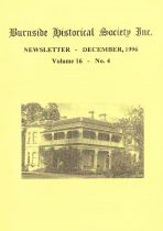 Burnside Historical Society newsletter, December, 1996, cover