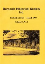 Burnside Historical Society newsletter, March, 1999, cover