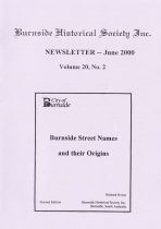 Burnside Historical Society newsletter, June, 2000, cover