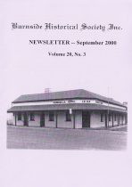 Burnside Historical Society newsletter, September, 2000, cover