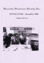 Burnside Historical Society newsletter, December, 2000, cover