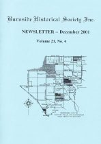Burnside Historical Society newsletter, December, 2001, cover
