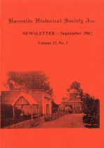 Burnside Historical Society newsletter, September, 2002, cover