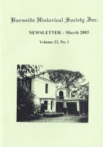 Burnside Historical Society newsletter, March, 2003, cover