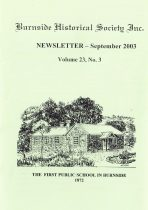 Burnside Historical Society newsletter, September, 2003, cover