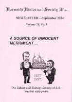 Burnside Historical Society newsletter, September, 2004, cover