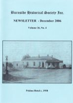 Burnside Historical Society newsletter, December, 2006, cover