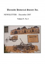 Burnside Historical Society newsletter, December, 2007, cover