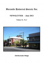 Burnside Historical Society newsletter, June, 2012, cover