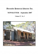 Burnside Historical Society newsletter, September, 2007, cover