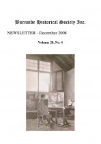 Burnside Historical Society newsletter, December, 2008, cover