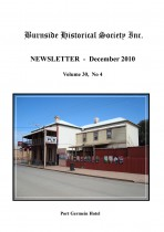 Burnside Historical Society newsletter, December, 2010, cover