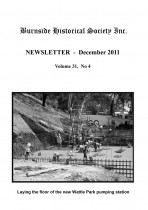 Burnside Historical Society newsletter, December, 2011, cover
