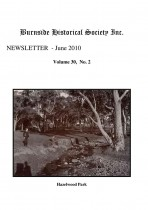 Burnside Historical Society newsletter, June, 2010, cover