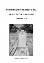 Burnside Historical Society newsletter, March, 2010, cover