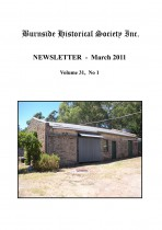 Burnside Historical Society newsletter, March, 2011, cover