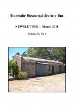 Burnside Historical Society newsletter, March, 2011, cover