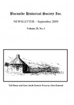 Burnside Historical Society newsletter, September, 2009, cover