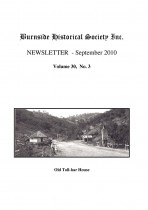 Burnside Historical Society newsletter, September, 2010, cover