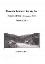 Burnside Historical Society newsletter, September, 2010, cover