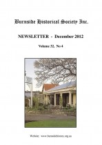 Burnside Historical Society newsletter, December, 2012, cover