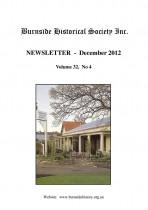 Burnside Historical Society newsletter, December, 2012, cover