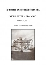 Burnside Historical Society newsletter, March, 2013, cover