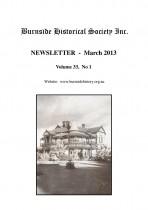 Burnside Historical Society newsletter, March, 2013, cover