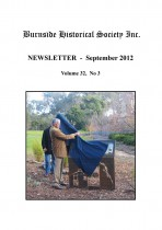 Burnside Historical Society newsletter, September, 2012, cover