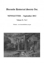 Burnside Historical Society newsletter, September, 2013, cover