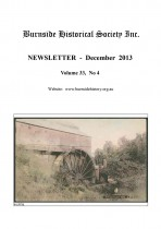 Burnside Historical Society newsletter, December, 2013, cover