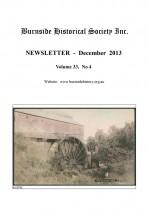 Burnside Historical Society newsletter, December, 2013, cover