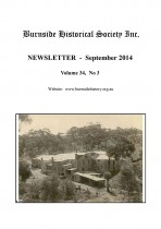 Burnside Historical Society newsletter, September, 2014, cover