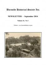 Burnside Historical Society newsletter, September, 2014, cover