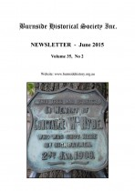 Burnside Historical Society newsletter, June, 2015, cover