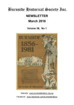 Burnside Historical Society newsletter, March, 2016, cover