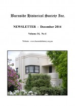 Burnside Historical Society newsletter, December, 2014, cover