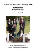 Burnside Historical Society newsletter, December, 2015, cover