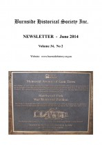 Burnside Historical Society newsletter, June, 2014, cover