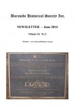 Burnside Historical Society newsletter, June, 2014, cover