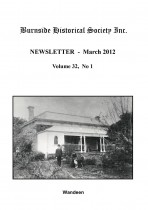 Burnside Historical Society newsletter, March, 2012, cover